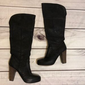 Steve Madden Black Leather Block Heeled Boots